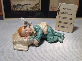 Hand Painted Porcelain Figurine Baby with Angel and Plaque Angels Secret Poem