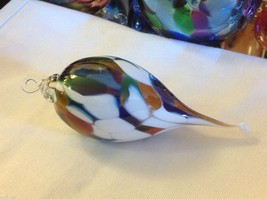 Hand blown heirloom glass Christmas ornament milk glass and green pointed drop - $34.64