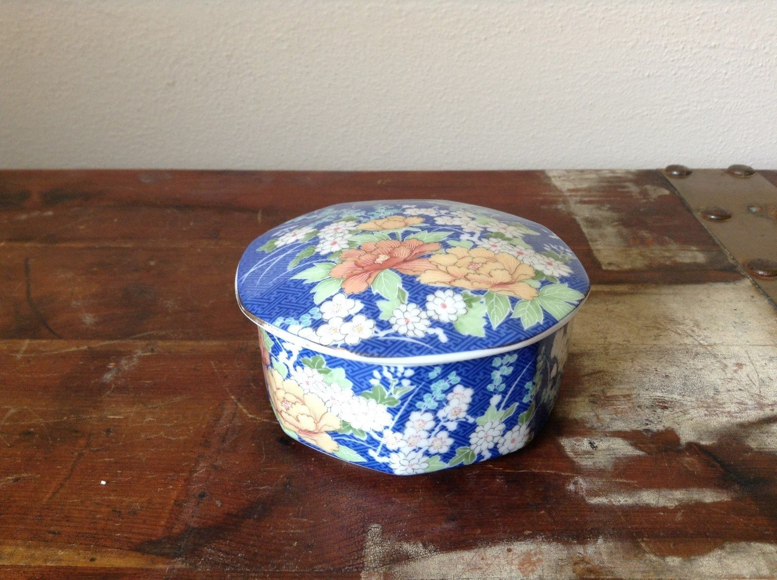 Hand Painted Blue Ceramic Trinket Box with Floral Design 1980 Echo Vintage