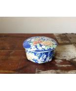 Hand Painted Blue Ceramic Trinket Box with Floral Design 1980 Echo Vintage - $44.54