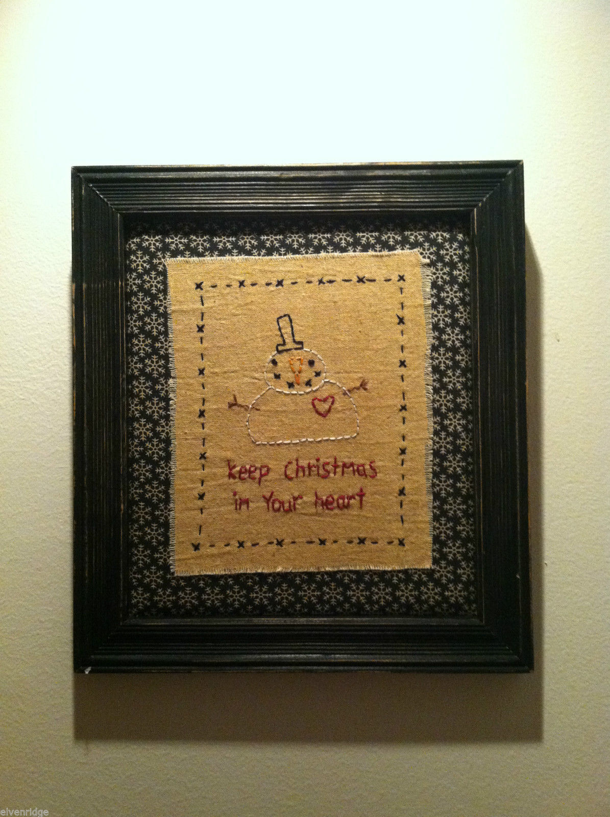 Hand Stitched Keep Christmas in Your Heart Snowman Framed Picture