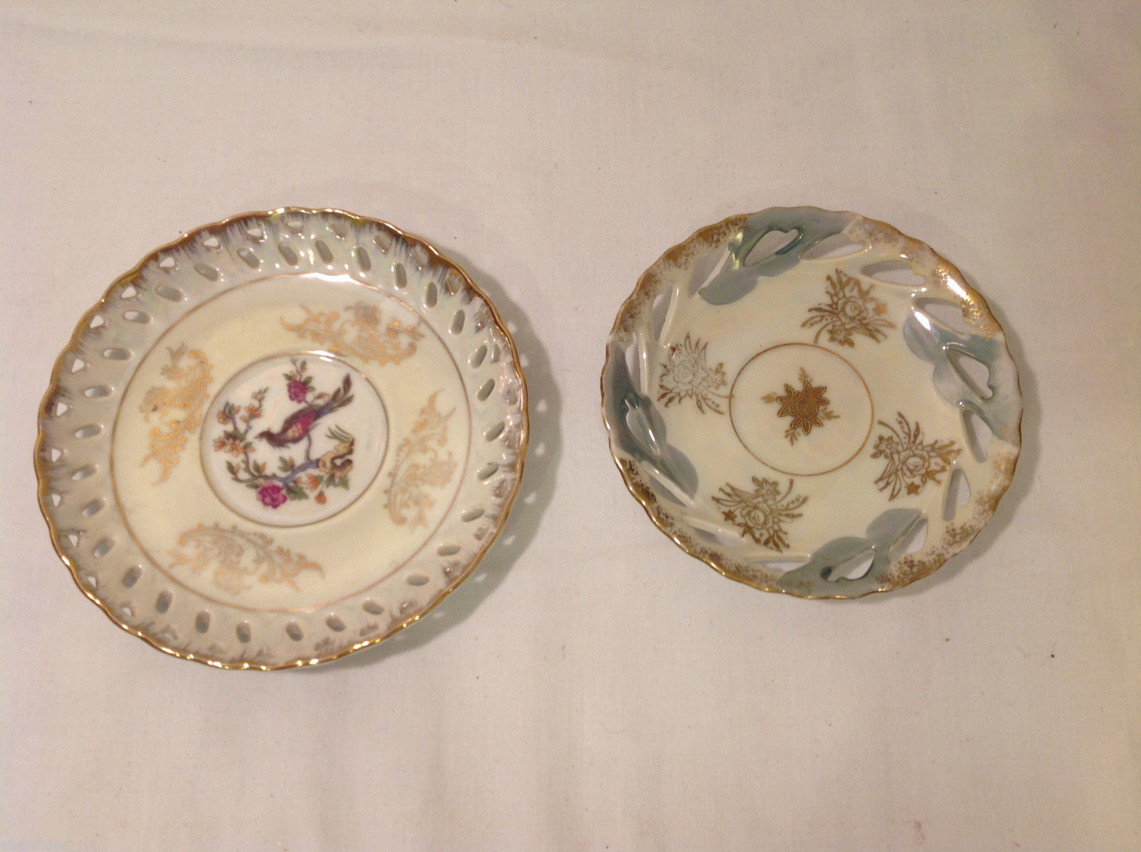 Hand Painted Gold Trim Decorative Ceramic Plate Saucer 2 piece Flowers Bird