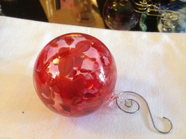 Hand blown heirloom glass Christmas ornament red orange and clear orb - $34.64