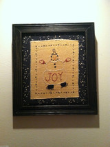 Hand Stitched Joy Snowman Christmas Holiday Framed Picture image 1
