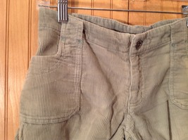 Green Corduroy Shorts Two Front Pockets Button Zipper Closure No Tags image 2