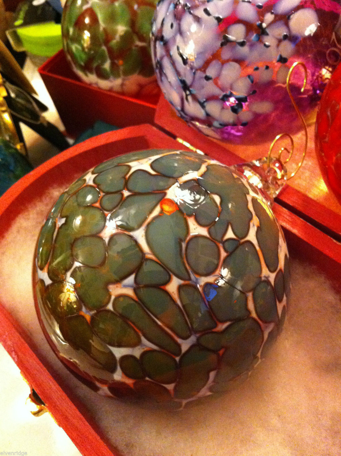 Hand blown large heirloom glass Christmas ornament in green plum and white