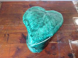 Green Grape Leaf Shaped Hand Crafted Artisan Ceramic Jar Trinket Box 2009 image 3