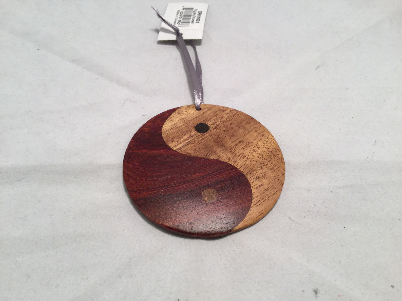 Hand carved multi colored grained wood Ying Yang wooden ornament double sided