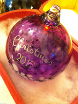Hand blown large heirloom glass Christmas ornament in purple white etched 2012