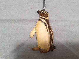 Hand carved multi colored grained wood Penguin bird ornament double sided
