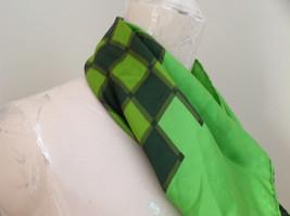 Green Dark Green Checkered Design Square Scarf Silk Like Material NO TAG image 3