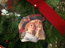 6 Piece Vintage Santa Pictures Christmas Wooden Ornaments with Bells image 4