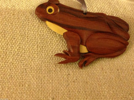 Hand carved multi colored grained wood frog  ornament double sided
