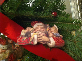 6 Piece Vintage Santa Pictures Christmas Wooden Ornaments with Bells image 5