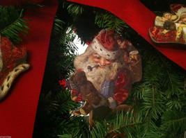 6 Piece Vintage Santa Pictures Christmas Wooden Ornaments with Bells image 7