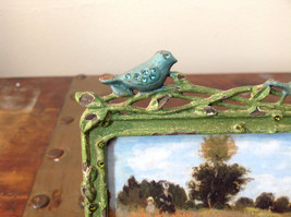 Green Metal Antiqued Blue Bird Decorated Photo Frame Jewel Accented image 3