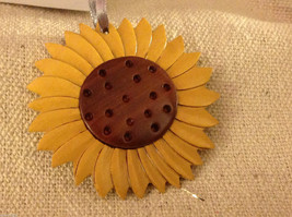Hand carved multi colored grained wood sunflower ornament double sided
