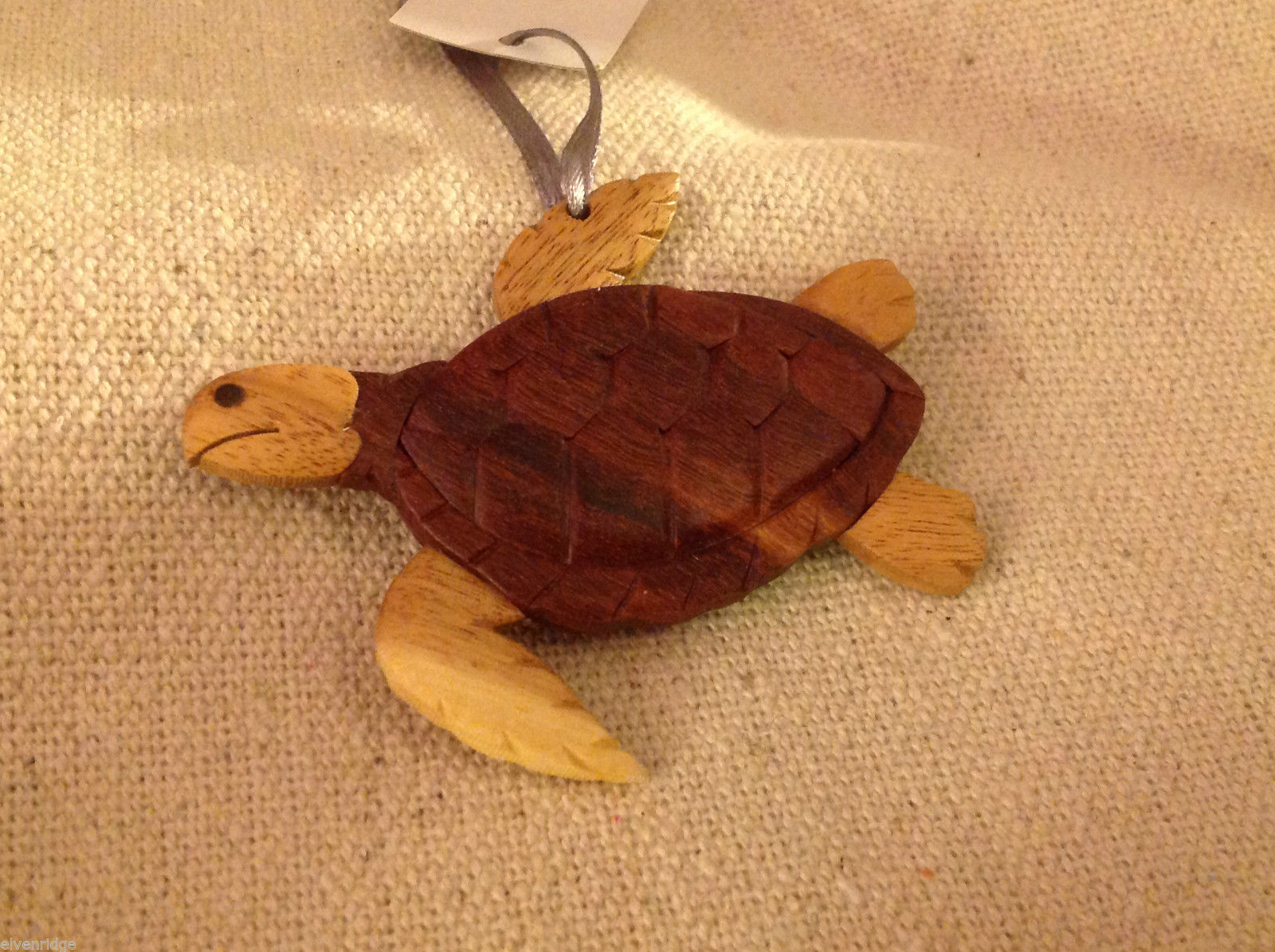 Hand carved multi colored grained wood sea turtle ornament double sided