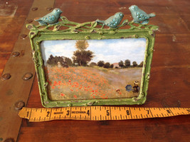 Green Metal Antiqued Blue Bird Decorated Photo Frame Jewel Accented image 9