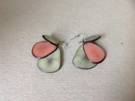 Green Pink 3 Element Flat Tagua dyed Handmade Dangling Earrings image 2