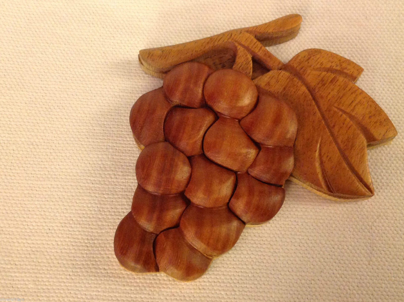 Hand carved wood grapes cluster  Refrigerator or other surface magnet