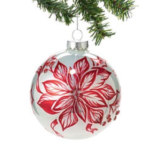 Large Christmas Ornament Peppermint Forest Pointsettia Design Department 56 - $13.85