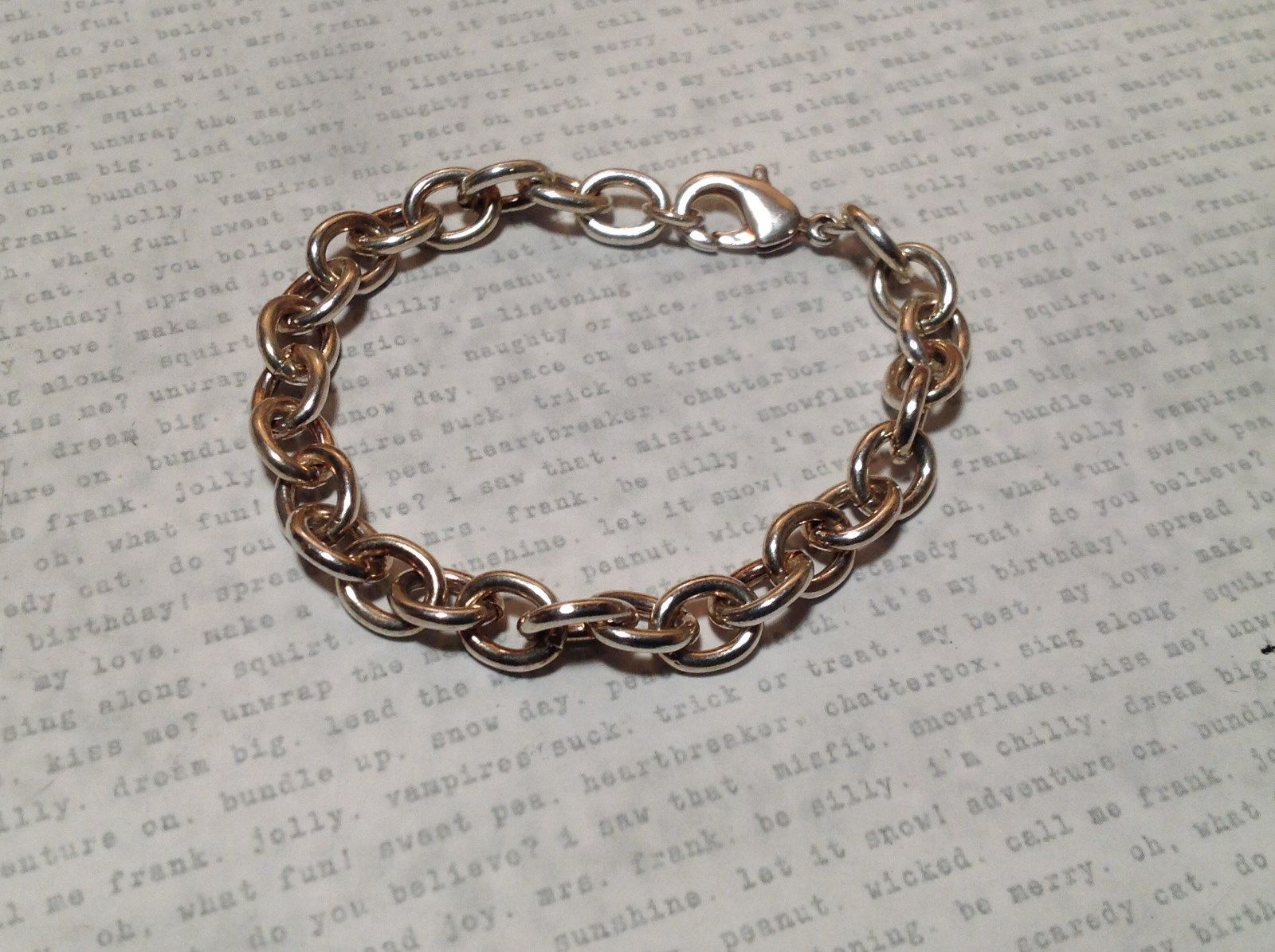 Large Chain Links Silver Plain Bracelet Lobster Clasp Closure