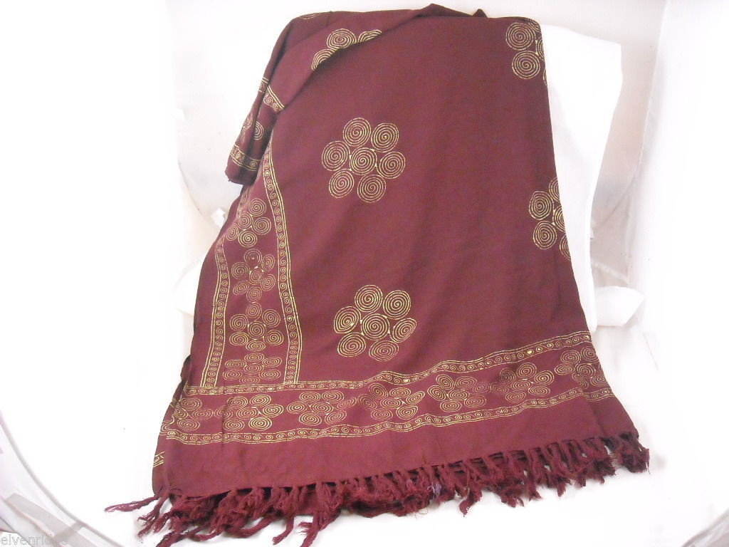 Large Burgundy Shawl wrap scarf with gold color print swirls and fringe