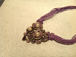Large Violet Pendant Multi Strand Chains Pendant Necklace Pearls Crystals