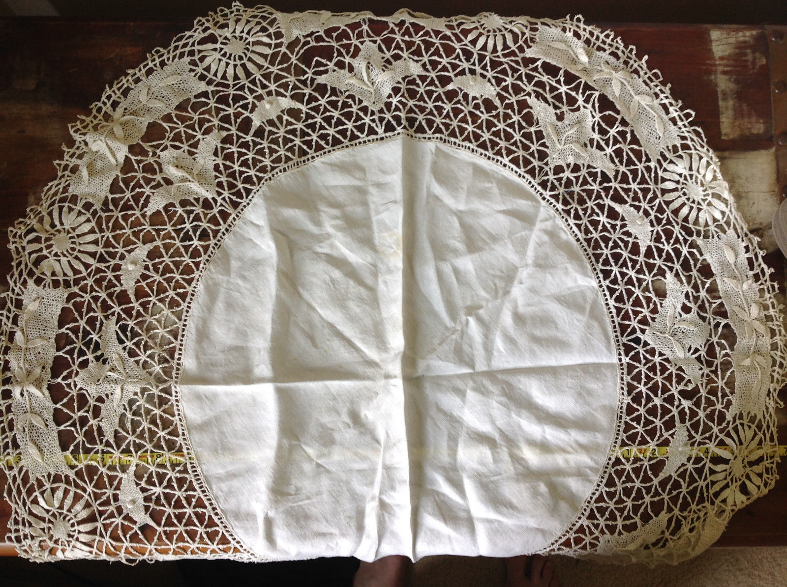 Large Circular Off White Doily Creative Design 31 Inches Across