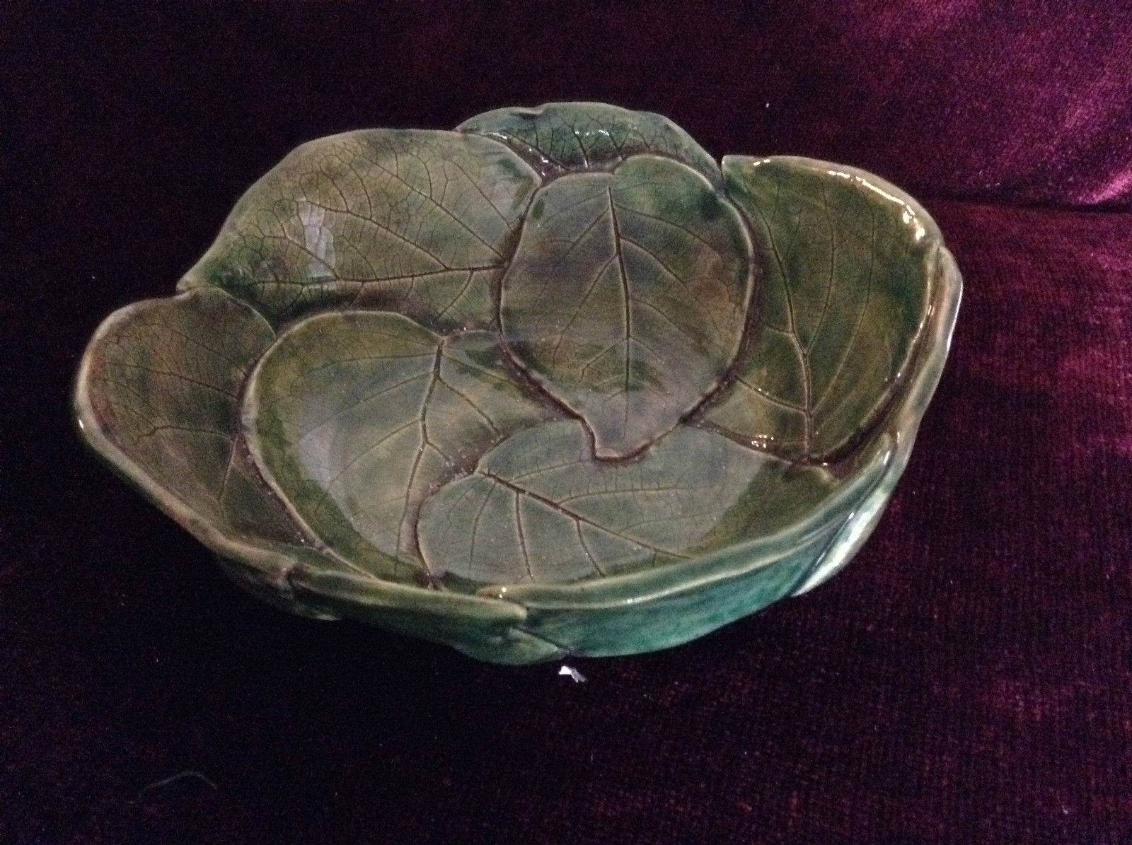 Large Ceramic Leaf Bowl on 3 Small Feet with Hydrangea 2007 Written On