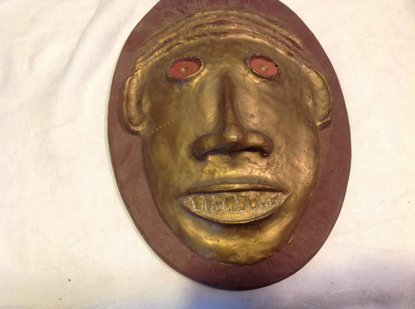 Hand made decorative wall art mask plaster cast and painted signed