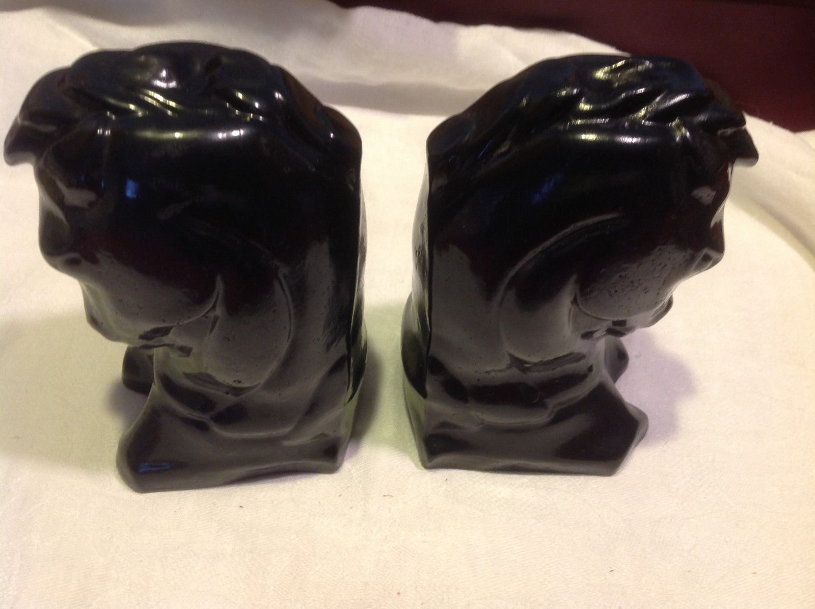 Hand cast black horse head book ends vintage from estate