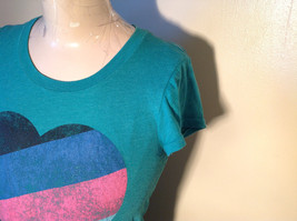 Green Victorias Secret Heart on Front T-Shirt Love Sweet Love on Back Size Small image 3