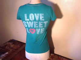 Green Victorias Secret Heart on Front T-Shirt Love Sweet Love on Back Size Small image 4