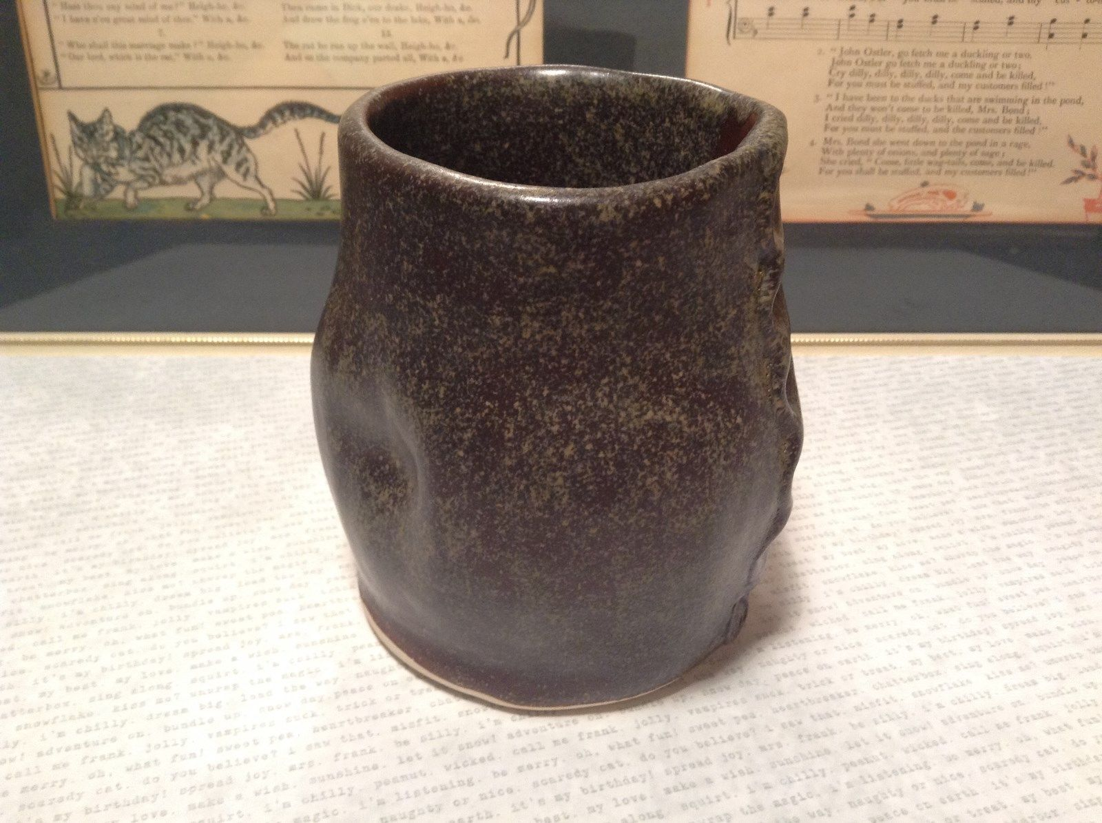 Handcrafted Artisan Made Ceramic Dark Brown Cup Mug Speckled Glaze