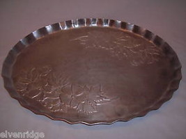 Hand forged vintage aluminum oval tray engraved