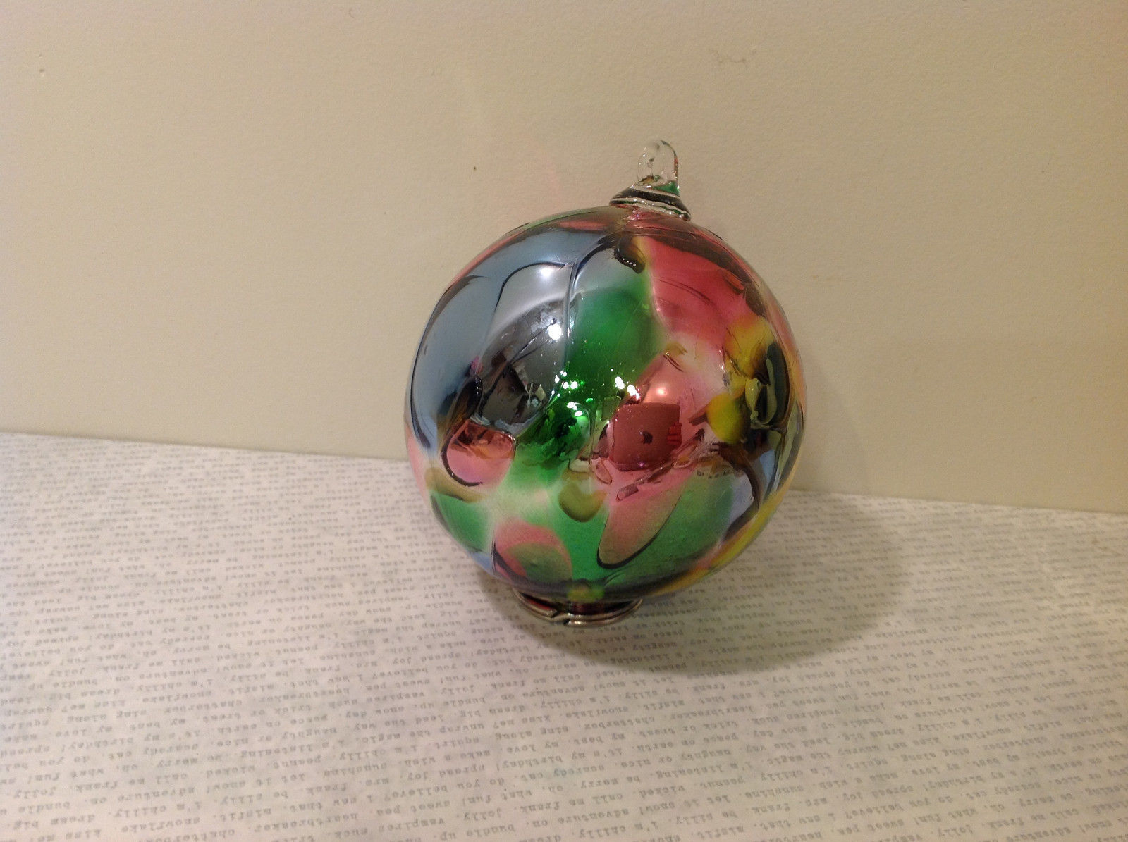 Handblown Recycled Glass Christmas Tree Ball Ornament Multicolor Bright