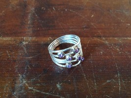 Handcrafted 925 Sterling Silver Multiband Ring with 6 Violet CZ Stackers Size 7
