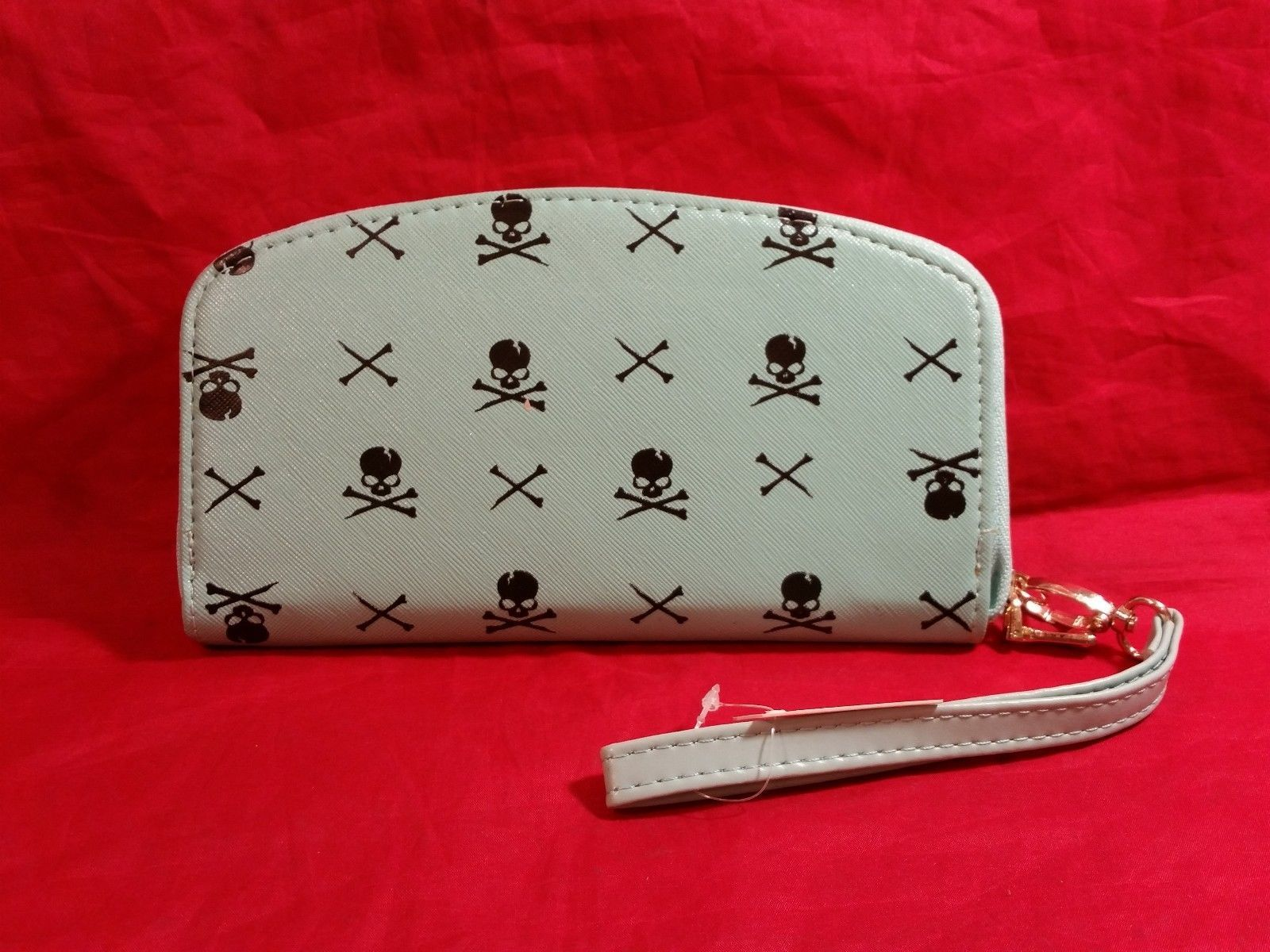 Hand purse clutch wallet with Skull and Crossbones in choice of color
