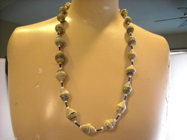 Handcrafted Blue and White Rolled Paper Beaded Necklace by Kenyan Artist