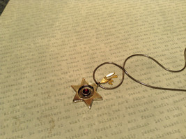 Judaica Sterling Silver Star of David Secret Garnet Gold Plated Bird Necklace image 5