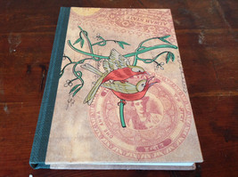 Handcrafted Journal with Red Tan Bird on Cover Blank Pages Asian Look
