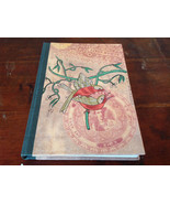 Handcrafted Journal with Red Tan Bird on Cover Blank Pages Asian Look - $14.84