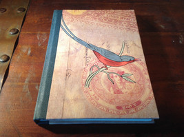 Handcrafted Journal with Red and Gray Bird on Cover Blank Pages Asian Look