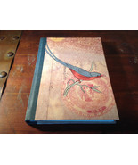 Handcrafted Journal with Red and Gray Bird on Cover Blank Pages Asian Look - $14.84
