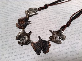 Handcrafted Pewter Necklace Earring Set Silver Tone Adjustable Ginkgo Leaf