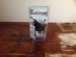 Handcrafted Bottle Stopper with Black Scotty Dog NIB Metal Ring New in Packaging