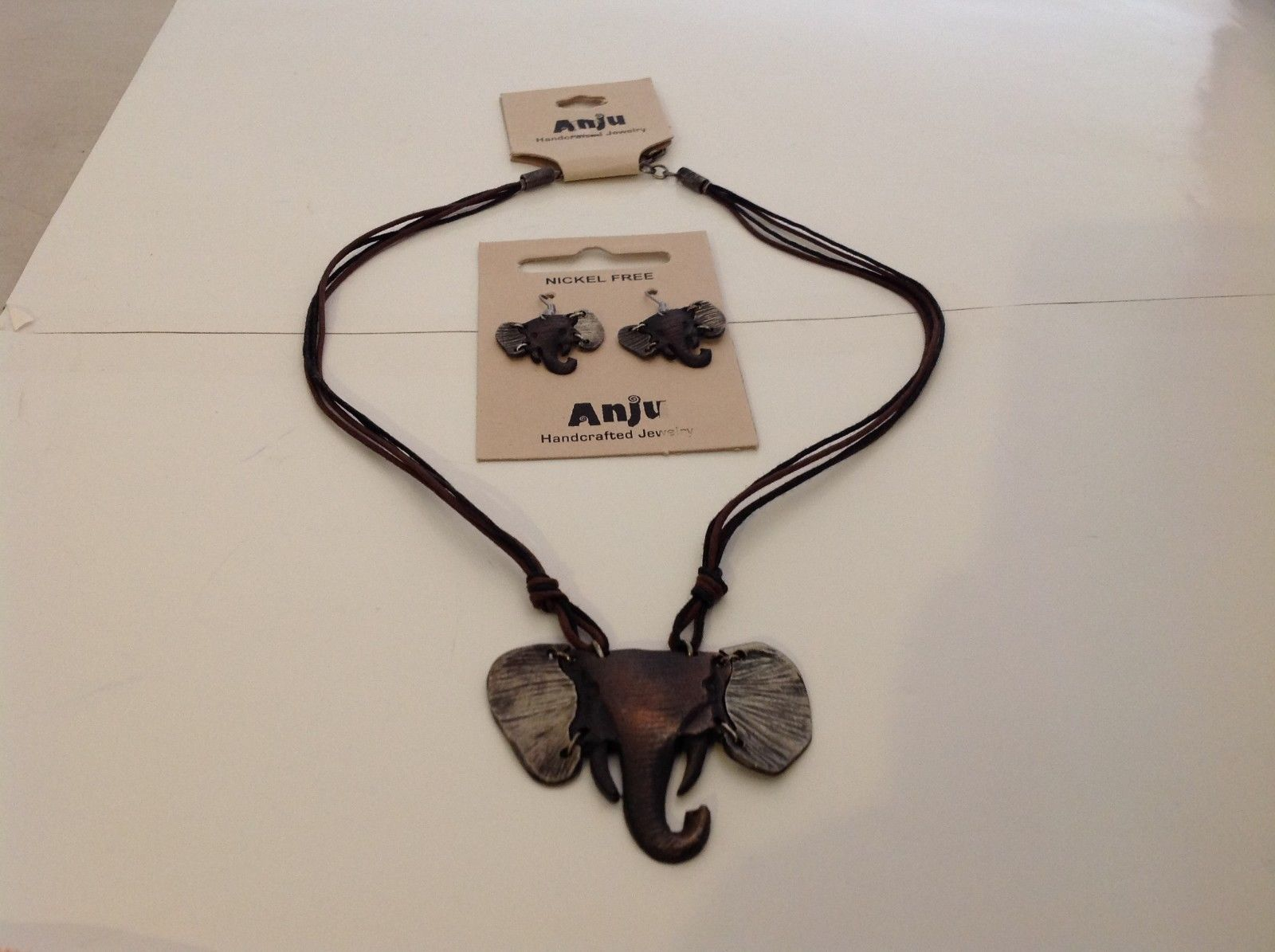 Handcrafted Pewter Based Metal Brass hammered elephant head necklace earring set