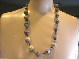 Handcrafted Multicolored and Blue Rolled Paper Beaded Necklace by Kenyan Artist